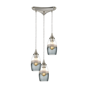 Sutter Creek Satin Nickel Three-Light 12-Inch Pendant