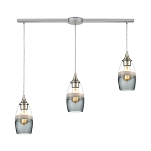 Sutter Creek Satin Nickel Three-Light 36-Inch Pendant