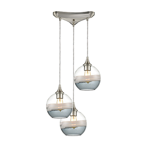 Sutter Creek Satin Nickel Three-Light 12-Inch Pendant With Smoke Seedy Glass