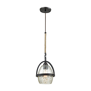Irwindale Oil Rubbed Bronze Eight-Inch One-Light Mini Pendant with Mottled Blown Glass