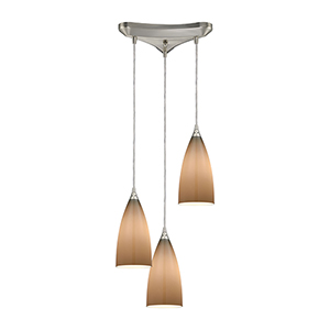 Vesta Satin Nickel 75W Three-Light Pendant