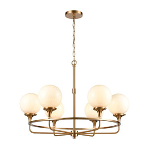 Beverly Hills Satin Brass Six-Light Chandelier