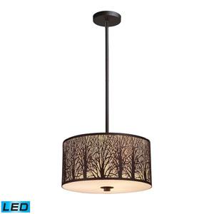 Woodland Sunrise Aged Bronze 16-Inch LED Pendant