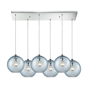 Watersphere Polished Chrome 100W Six-Light Pendant