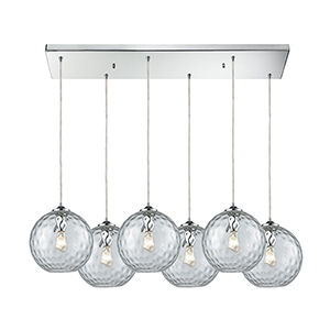 Watersphere Polished Chrome Six-Light Pendant
