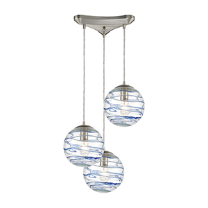 Vines Satin Nickel Three-Light 12-Inch Round Pendant