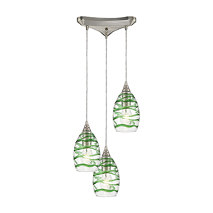 Vines Satin Nickel Three-Light 12-Inch Pendant With Emerald Green Strip