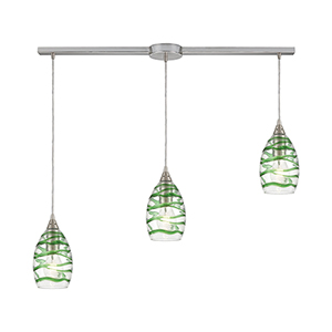 Vines Satin Nickel Three-Light 36-Inch Pendant With Green Emerald Strip