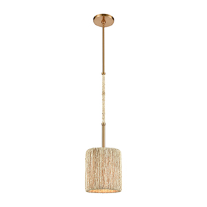 Abaca Satin Brass One-Light Mini Pendant