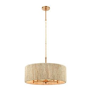 Abaca Satin Brass Five-Light 24-Inch Pendant With Abaca Rope