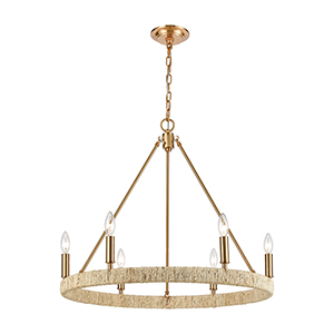 Abaca Satin Brass Six-Light Chandelier