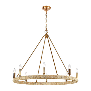 Abaca Satin Brass Eight-Light Chandelier