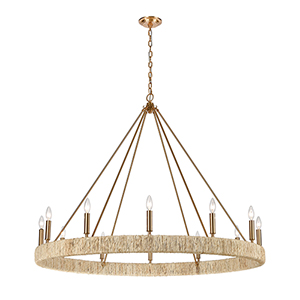 Abaca Satin Brass 12-Light Chandelier
