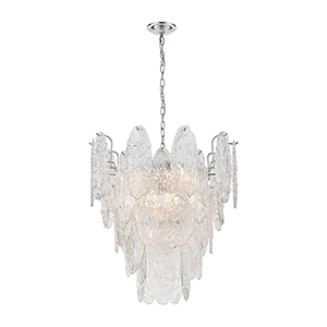 Frozen Cascade Polished Chrome Nine-Light Chandelier