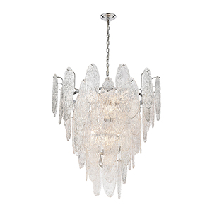 Frozen Cascade Polished Chrome 13-Light Chandelier