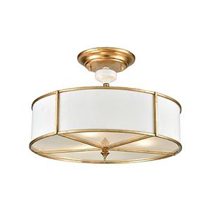 Ceramique Antique Gold Leaf Three-Light Semi-Flush Mount