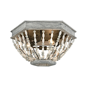 Summerton Washed Gray and Malted Rust Three-Light Flush Mount