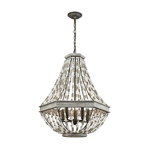 Summerton Washed Gray and Malted Rust Five-Light Pendant