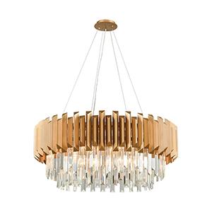 Seneca Falls Matte Gold Eight-Light Chandelier