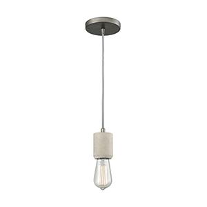 Socketholder Weathered Zinc and Concrete Four-Inch One-Light Mini Pendant