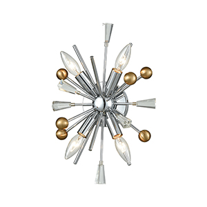 Williston Polished Chrome and Satin Brass Four-Light Wall Sconce