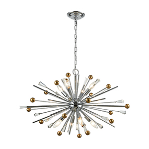 Williston Polished Chrome and Satin Brass Eight-Light Pendant