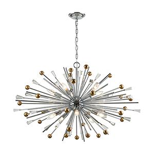 Williston Polished Chrome and Satin Brass 10-Light Pendant