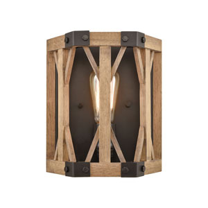 Structure Oil Rubbed Bronze and Natural Wood One-Light Wall Sconce