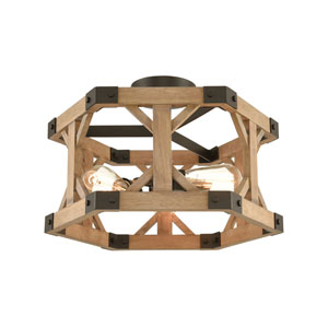 Structure Oil Rubbed Bronze and Natural Wood Three-Light Semi Flush Mount