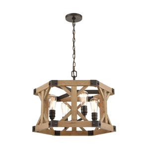 Structure Oil Rubbed Bronze and Natural Wood Four-Light Chandelier