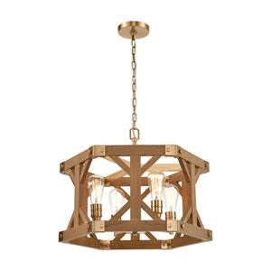 Structure Satin Brass and Medium Oak Four-Light Chandelier