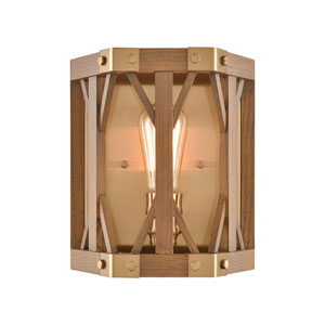 Structure Satin Brass and Medium Oak One-Light Wall Sconce