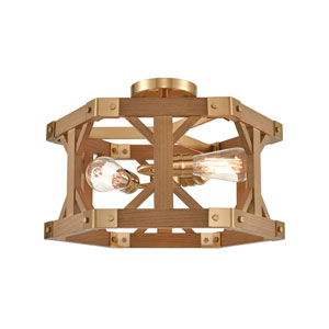 Structure Satin Brass and Medium Oak Three-Light Semi Flush Mount