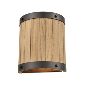 Wooden Barrel Oil Rubbed Bronze and Natural Wood Two-Light Wall Sconce