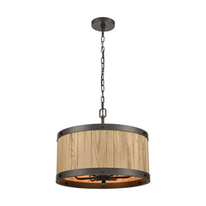 Wooden Barrel Oil Rubbed Bronze and Natural Wood 19-Inch Six-Light Chandelier
