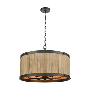 Wooden Barrel Oil Rubbed Bronze and Natural Wood 25-Inch Six-Light Chandelier