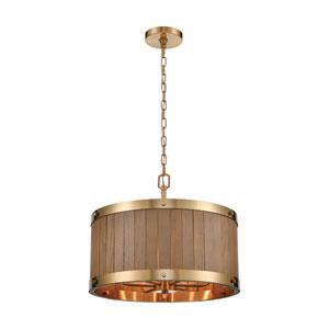 Wooden Barrel Satin Brass and Medium Oak 19-Inch Six-Light Chandelier