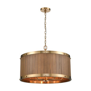 Wooden Barrel Satin Brass and Medium Oak 25-Inch Six-Light Chandelier