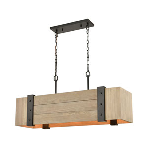 Wooden Crate Oil Rubbed Bronze and Natural Wood Five-Light Island Chandelier