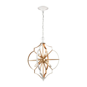 Laguna Beach Gold and White Four-Light Chandelier