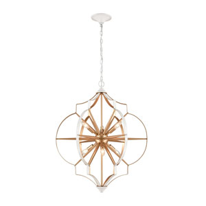 Laguna Beach Gold and White Six-Light Chandelier