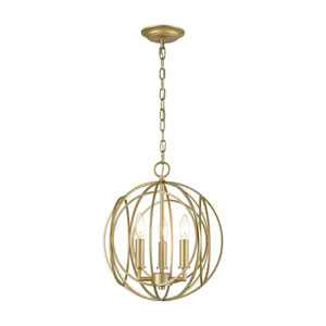 Loughton Golden Silver Three-Light Chandelier