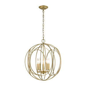 Loughton Golden Silver Five-Light Chandelier