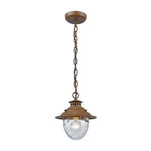Searsport Dark Wood One-Light Outdoor Hanging Pendant