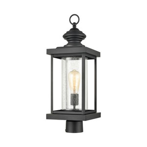 Minersville Matte Black One-Light Outdoor Post Mount