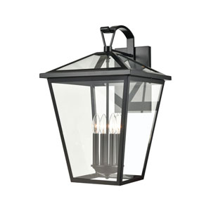 Main Street Black 14-Inch Four-Light Outdoor Wall Sconce