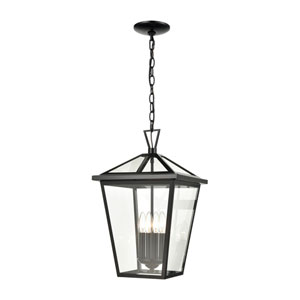 Main Street Black Four-Light Outdoor Pendant