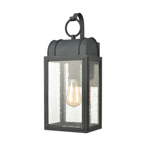 Heritage Hills Aged Zinc Seven-Inch One-Light Outdoor Wall Sconce