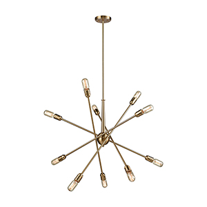 Delphine Satin Brass 10-Light Chandelier