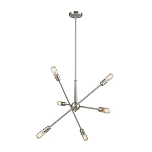 Delphine Satin Nickel Six-Light Chandelier